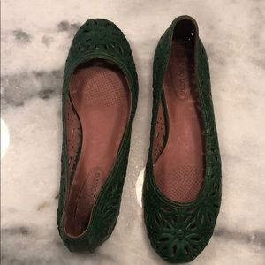 Corso Como Green leather perforated floral flats